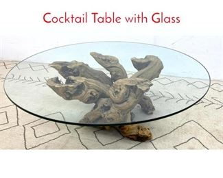 Lot 1010 Freeform Twisted Root Coffee Cocktail Table with Glass