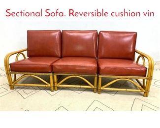 Lot 1014 WARD WICKER WARE Sectional Sofa. Reversible cushion vin