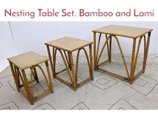 Lot 1016 3pc WARD WICKER WARE Nesting Table Set. Bamboo and Lami