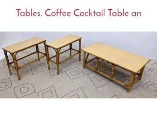 Lot 1017 Set 3 WARD WICKER WARE Tables. Coffee Cocktail Table an