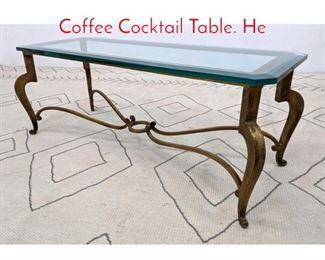 Lot 1025 Decorator Gilt Iron and Glass Coffee Cocktail Table. He