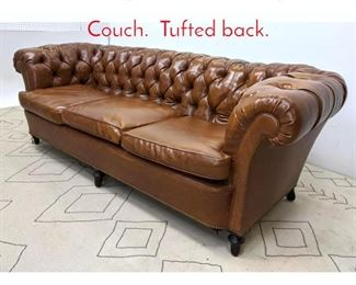 Lot 1028 Vinyl Chesterfield Style Sofa Couch. Tufted back.