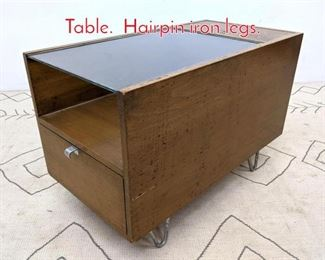 Lot 1029 Herman Miller Side End Table. Hairpin iron legs.