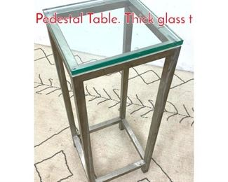 Lot 1032 Modernist Steel and Glass Pedestal Table. Thick glass t