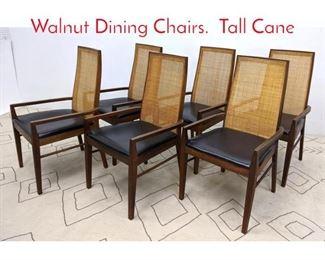 Lot 1036 set 6 American Modern Walnut Dining Chairs. Tall Cane