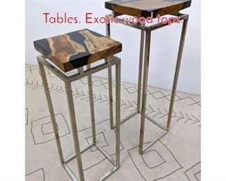 Lot 1038 2pcs Decorative Pedestal Tables. Exotic wood tops.