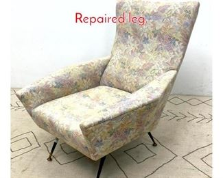 Lot 1044 Italian Style Lounge Chair. Repaired leg.