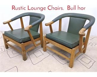 Lot 1045 Pair Mid Century Modern Rustic Lounge Chairs. Bull hor