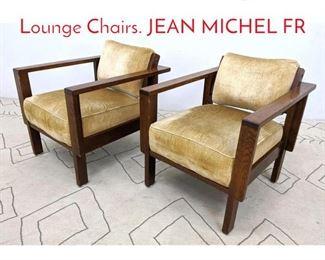 Lot 1049 Pr Oak Mission style Club Lounge Chairs. JEAN MICHEL FR