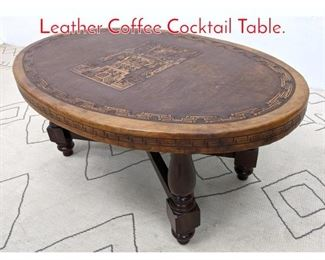 Lot 1051 ANGEL PAZMINO Tooled Leather Coffee Cocktail Table.