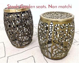 Lot 1057 Two Contemporary Brass Stools Garden seats. Non matchi