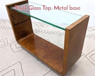 Lot 1058 Art Deco Console Table With Thick Glass Top. Metal base
