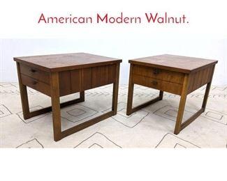 Lot 1069 Pair LANE Side Tables. American Modern Walnut.
