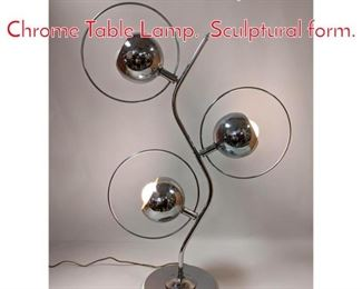 Lot 1080 Mid Century Modern Chrome Table Lamp. Sculptural form.