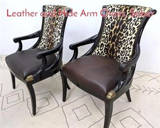 Lot 1097 Pair MAITLAND SMITH Leather and Hide Arm Chairs. Saber