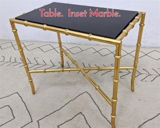 Lot 1100 Gilt Metal Faux Bamboo Side Table. Inset Marble.