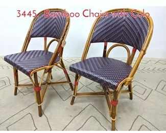 Lot 1112 Pair MAILLOT Side Chairs 3445. Bamboo Chairs with Colo