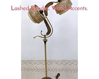 Lot 1113 50s Modern Floor Lamp with Lashed Shades. Wood Accents.