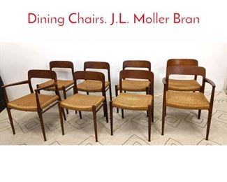 Lot 1115 Set 8 NIELS OTTO MOLLER Dining Chairs. J.L. Moller Bran