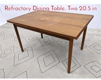 Lot 1116 Danish Modern Teak Refractory Dining Table. Two 20.5 in