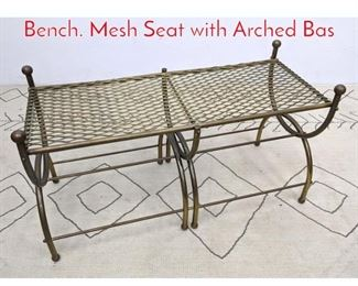 Lot 1123 Gold Tone Metal Double Bench. Mesh Seat with Arched Bas