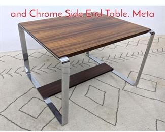 Lot 1125 NORWAY Modern Rosewood and Chrome Side End Table. Meta