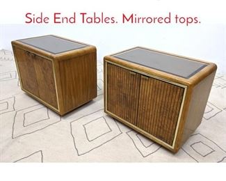 Lot 1126 Pair Mid Century Modern Side End Tables. Mirrored tops.