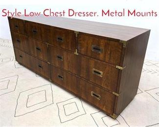 Lot 1127 HENREDON Campaign Style Low Chest Dresser. Metal Mounts