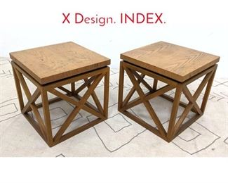 Lot 1129 Pair DREXEL Side Tables with X Design. INDEX.