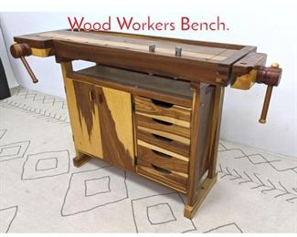 Lot 1130 Exotic Wood Work Bench. Wood Workers Bench.