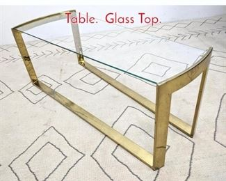 Lot 1135 Brass Finish Console Sofa Hall Table. Glass Top.