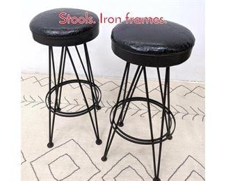 Lot 1140 Pair WEINBERG Style Bar Stools. Iron frames.
