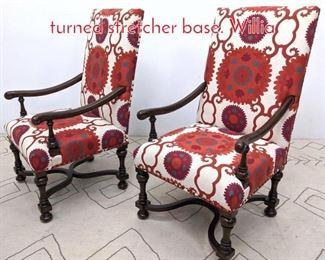 Lot 1145 Pr Walnut Arm Chairs with turned stretcher base. Willia