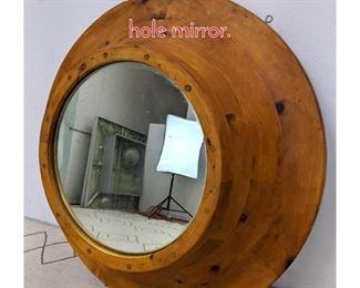 Lot 1156 Deep Frame Pine Mirror. Port hole mirror.