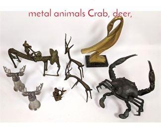 Lot 1443 Shelf Lot 8 pc Collection of metal animals Crab, deer,