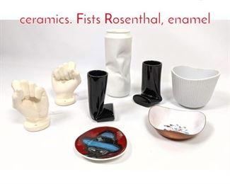 Lot 1444 Shelf Lot Midcentury ceramics. Fists Rosenthal, enamel