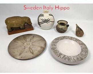 Lot 1445 Shelf Lot 6pc lot pottery Sweden Italy Hippo