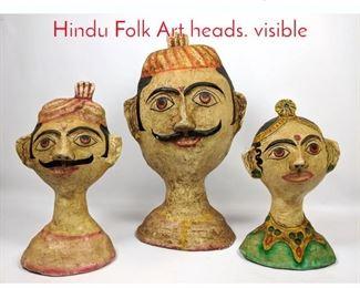 Lot 1446 Shelf Lot 3 composition Hindu Folk Art heads. visible