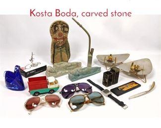 Lot 1449 Shelf Lot Lot of Sunglasses, Kosta Boda, carved stone