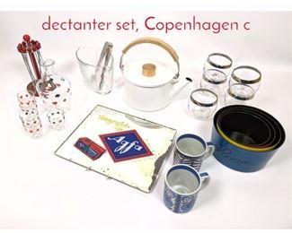 Lot 1450 Shelf Lot Enamelware, Card dectanter set, Copenhagen c