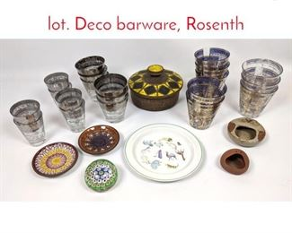 Lot 1451 Shelf Lot Glass and Pottery lot. Deco barware, Rosenth