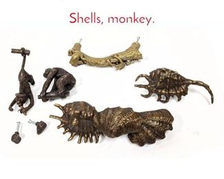 Lot 1455 7pc whimsical drawer handels. Shells, monkey.