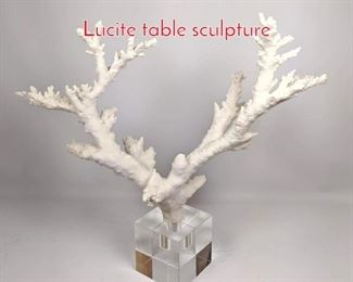 Lot 1458 Faux White Branch Coral and Lucite table sculpture