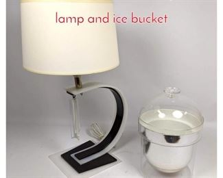 Lot 1460 Black and white acrylic lucite lamp and ice bucket