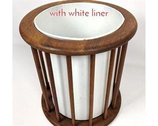 Lot 1470 Modern walnut waste basket with white liner