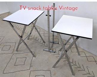 Lot 1471 Chrome and white laminate TV snack tables Vintage