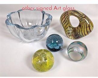 Lot 1478 5pc Art Glass lot. Caithness other signed Art glass.