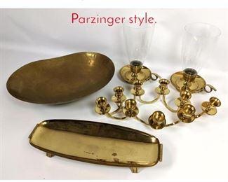 Lot 1479 5pc lot Brass tableware. Parzinger style.