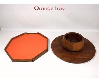 Lot 1477 3pc teak lot bowl, tray, Orange tray