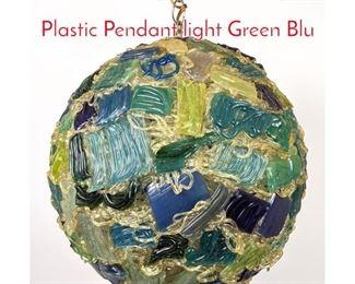 Lot 1481 Vintage 1970s Composite Plastic Pendant light Green Blu
